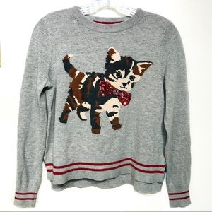 Sweaters - Topshop Petite gray Christmas kitty sweater size 4